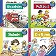 Ravensburger Mini-Bilderspa� 47 - Wieso? Weshalb? Warum? 4 (4er-Set): Eisenbahn, Fu�ball, Schule, Die Sinne