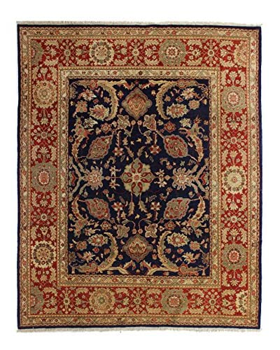 Bashian Rugs Hand Knotted One-of-a-Kind Sino-Oushak Rug, Dark Blue, 8' 2 x 10'