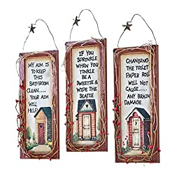 Primitive Outhouse Bathroom Wall Art - Set of 3