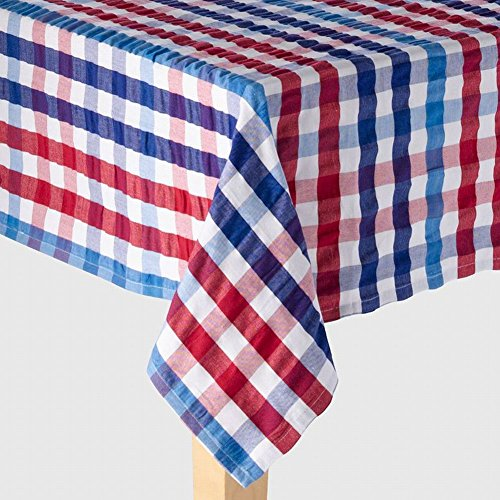 Americana Red White Blue Gingham Plaid Tablecloth