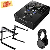 Pioneer DJM-S3 2-Channel Mixer for Serato DJ Bundle with Stand, Headphones, and Austin Bazaar Polishing Cloth (Color: Bundle w/ Stand, Tamaño: DJM-S3)