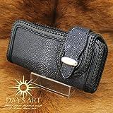 Days Art(デイズアート)牛革2つ折り長財布 エイ皮 フラット加工スティングレイレザーウォレット ブラック