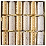 Caspari 12.5-inch Small Dots Celebration Crackers, Box of 6, Gold/ White
