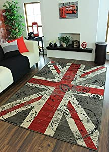 Milan Retro Red, Grey & Off-White Union Jack Print Rug 1878-W55 - 2 Sizes by The Rug House