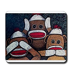 CafePress See No Evil Sock Monkeys Mousepad - Standard Multi-color at 'Sock Monkeys'