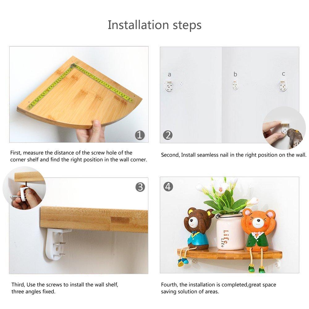 Corner Floating Shelf, Heavy Duty 2 Pack Bamboo Wall Mount Corner Cabinet Shelves Unit Organizer Set for Kitchen Bathroom Shower Bedroom