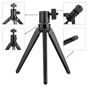 Kamisafe Aluminum Mini Tripod Desktop Tabletop Tripod Stand with 1//4 Inch Screw Compatible for Zhiyun Smooth Q//Smooth 4 //DJI OSMO Mobile 2 //Feiyu Gimbal//Gopro//Cellphones//DSLR Camera//Projector