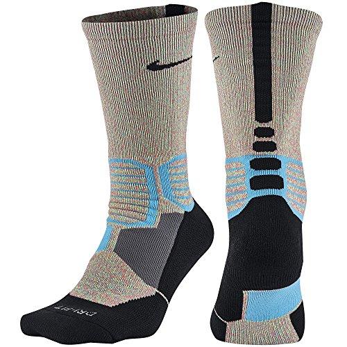 Nike Men's Hyper Elite Crossover Basketball Crew Socks Large (8-12) Omega Blue Black