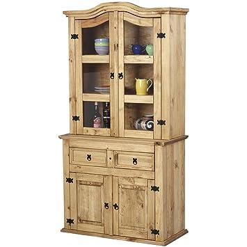 Pine Dresser, Sideboard, Glass Display Cabinet 2 drawer 2 door Corona *New*