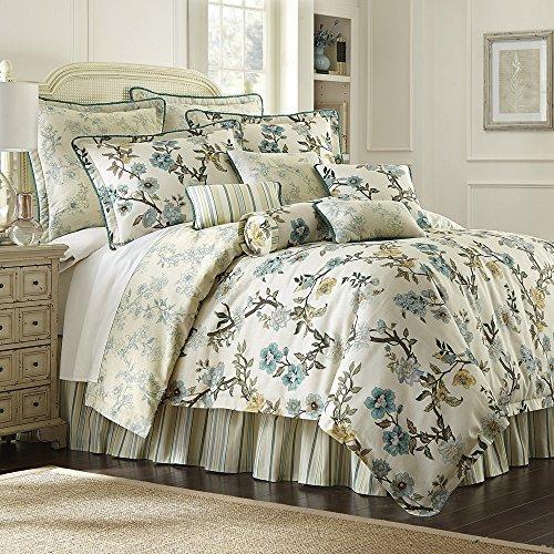 rose tree harlow cottage floral 9 piece queen comforter bundle set aqua blue ivory blue shabby chic bedding