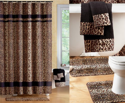 Brand New Black Brown Jungle Animal Leopard Print Bathroom Shower Curtain Set