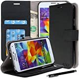 Galaxy S5 Case, Galaxy S5 Flip Case - E LV Deluxe PU Leather Folio Wallet Case Cover for Samsung Galaxy S5 / Galaxy SV / Galaxy S V (AT&T, T-Mobile, Sprint, Verizon) with 1 Black Stylus, 1 Screen Protector and 1 Microfiber Digital Cleaner-Black