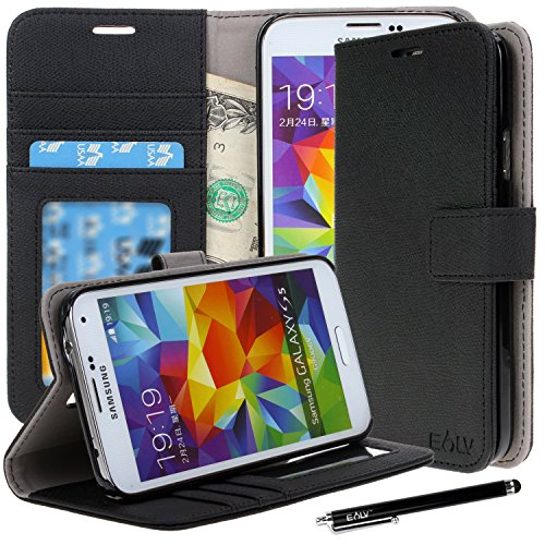 Galaxy S5 Case, Galaxy S5 Flip Case - E LV Deluxe PU Leather Folio Wallet Case Cover for Samsung Galaxy S5 / Galaxy SV / Galaxy S V (AT&T, T-Mobile, Sprint, Verizon) with 1 Black Stylus, 1 Screen Protector and 1 Microfiber Digital Cleaner-Black (Tmobile Samsung Galaxy S5 Case compare prices)