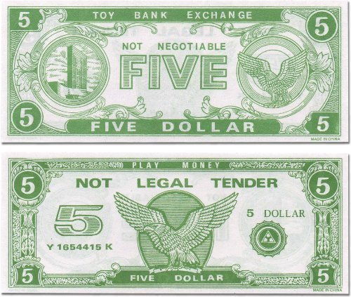 Paper Play Money Bulk (250 $5 Bills Per Package)
