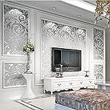 Auralum DIY 壁紙シール ヨーロッパのシンプルスタイル キンポウゲの葉 ベッドルーム リビングルーム テレビの背景 55cm×10m シルバー