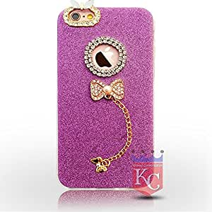 KC Pendant Diamond Crystal Gold Ultra Thin Cute Soft Case iPhone 6s Back cover for Girls - Purple