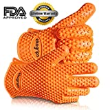 #1 Silicone BBQ Gloves - Perfect For Use As Heat Resistant Cooking Gloves, Grill Gloves, Or Potholder - Directly Manage Hot Food In The Kitchen, Use As Grilling Gloves, Oven Gloves, Or At The Campsite! - Protect Your Hands And Avoid Accidents With Insulated Waterproof Five-Fingered Grip - Far More Protection And Versatility Than Oven Mitts - 1 Pair - Premium Hassle-Free Lifetime Guarantee!