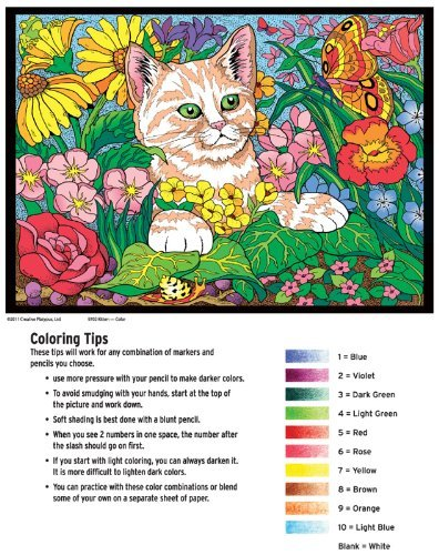 Kitten - Color By Number Poster Set - Includes 12 Coloring Pencils