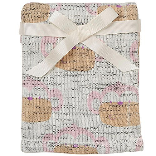 Koala Baby Girls' Monkey Print Fleece Lined Knit Blanket - Pink - 1