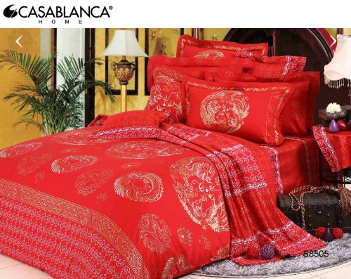 Palermo S8505 Duvet Cover (560 Threads / 10Cm Squared) Red Wedding Modern Chinese Style Dragon & Phoenix 100% Combed Cotton Sateen front-155386