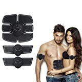 BEAUTY PLUS Portable Abdominal Trainer Six-pack ABS Muscle Toner Mobile-Gym Smart Fitness EMS Fit Boot Toning Fat Burning Slim Equipment for Men and Women (Color: Black and White line, Tamaño: 20*21.7*3cm)