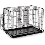 "SmithBuilt - Premium Folding Black Dog Crate w/ Divider & ABS Tray Pan - Double Door - 48"" Length"