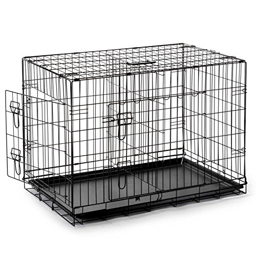 Smithbuilt double door folding metal dog crate 36 inch for 36 inch dog crate with divider