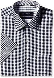 Jadeblue Men's Formal Shirt (1117504235FTJ2_35FT_42_Navy and White)