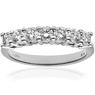 Naava 18 ct Gold Eternity Ring, IJ/I Certified Diamonds, Round Brilliant, 0.75 ct