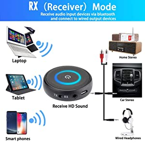 Friencity Bluetooth V5 0 Audio Transmitter Receiver with