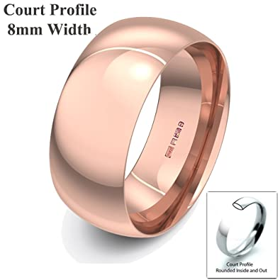 Xzara Jewellery - 9ct Rose 8mm Light Court Hallmarked Ladies/Gents 5.9 Grams Wedding Ring Band