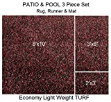 3 Piece Set - ECONOMY TURF / ARTIFICIAL GRASS Patio & Pool - Light Weight Outdoor | EASY Maintenance - Just Hose Off & Dry! ( Rug 8'x10', Runner 3'x8' & Mat 2'x3' ) 8 Colors to Choose From (Red/Black)