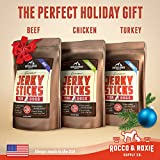 """Rocco & Roxie Gourmet Jerky Dog Treats - Slow Smoked, Delicious, Tender AND Healthy 7"""" Jerky Sticks - Choose Beef, Chicken or Turkey - 16 oz. Bag (16oz Beef)"""