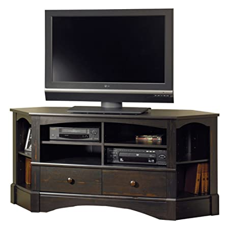 Sauder Harbor View Corner TV Stand in Antiqued Paint
