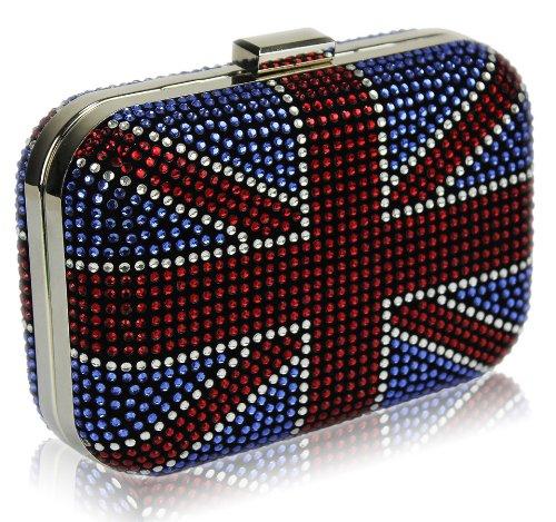 Diamante Blue Union Jack Sparkling Box Shaped Evening Clutch Bag (18Cm X 10Cm) With Preciousbags Dust Bag front-87701