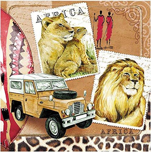 20-tovaglioli-33-x-33-cm-africa-massai-romanticismo-safari-leone-tiger-jeep-zebra