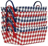 "Bright Cotton Fabric Covered Medium Checked Cases with Leatherette Handles 16""x12""x5.25"" Set of 6"