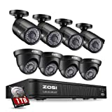 ZOSI 8-Channel HD-TVI 1080P Lite Video Security Camera System,4 in 1 CCTV DVR Recorder and (8) 1.0MP Indoor/Outdoor Day/Night Weatherproof Surveillance Cameras (1TB Hard Drive Built-in) (Color: 720p 8CH+8CAMs+1TB HDD)