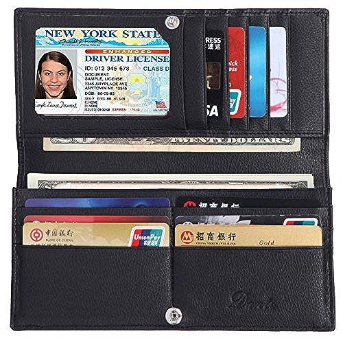 02. Dante Women RFID Blocking Ultra Slim Real Leather Wallet - Clutch Wallet for Women