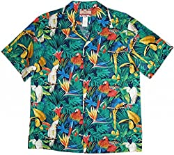 RJC Brand Tropical Parrot Escape Men's Hawaiian Shirt Navy 3X