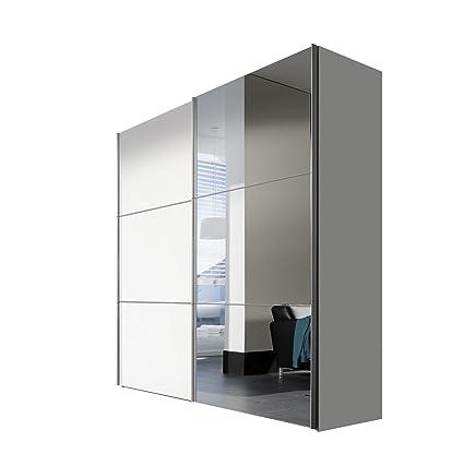 Solutions 01710-184 2-turiger Schwebeturenschrank in lackweiß mit Spiegel, 200 x 216 x 68, Holz