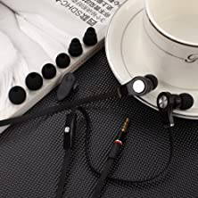 buy Universal Headphones With Mic (Hdb) Come With Three Extra Separate Sizes Of Silicone Eartips And Clip. (Black)