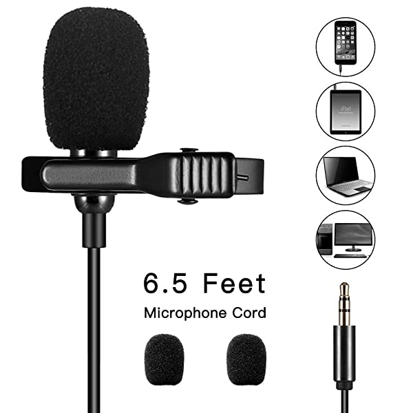 Audiofina Lavalier Lapel Microphone Omnidirectional Condenser 3.5mm Mic Perfect for Recording Youtube/Interview/Video Conference/Podcast/Voice Dictati