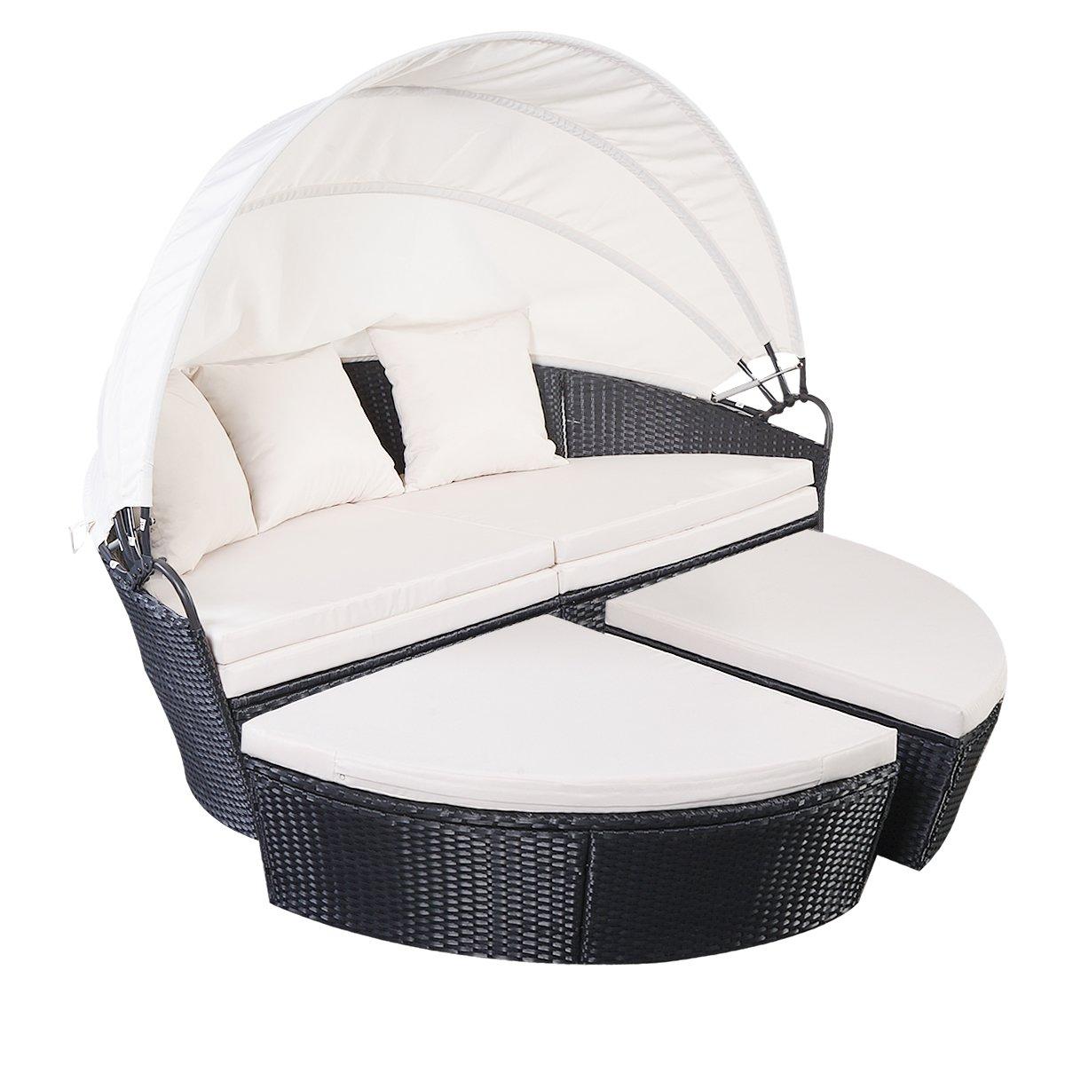 Sonneninsel Sonnenliege Polyrattenliege Rattan Lounge Rattenbett Gartenliege GartenmöbelSitzgarnitur Strandkorb mit Sitzauflage Sonnendach bestellen