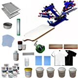 Screen Printing Materials Kit & 4 Color 1 Station Screen Press for beginners (Color: Blue, Black, White)