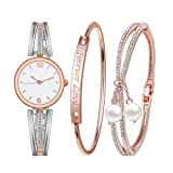 Souarts Women's Gift Set-Rhinestone Watch Free Engraving Bracelet Forever Love Faux Pearls Bracelet Jewelry Watch Set Round Mesh Quartz Wrist Watch Rose Gold (Color: Rose Gold Set-Silver Strap, Tamaño: Dial Diameter:2.5CM)