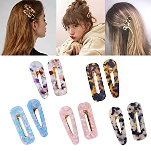 10 Pcs Acrylic Resin Hair Barrettes Fashion Geometric Alligator Hair Clips for Women and Ladies Hair Accessories (Color: 10 pcs acrylic resin barrettes, Tamaño: 10 pcs acrylic resin barrettes)