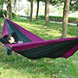Okeler Portable Nylon Fabric Travel Camping Hammock for Double Two Person with Free Pen (Purple and Blackish green)