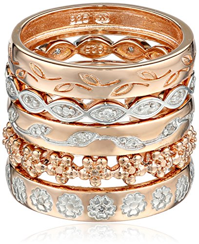 Rose Gold Plated Sterling Silver Five Band Diamond Set, Size 6