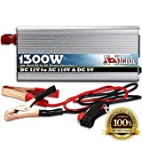 Power Inverter for Car - Reliable 1300W 12 Volts DC to 110V AC Connection - Lightweight Unit Contains 110 Volt Outlet and USB Port - Comes With Battery Cables with Clips and Auto Adapter - Built-in Fan Keeps Unit Cool - Auto-Shutdown Feature Prevents Overh
